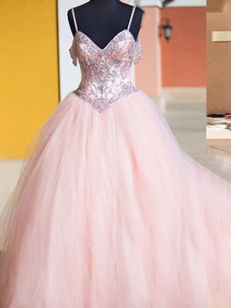 Ball Gown Spaghetti Straps Tulle Crystal Floor-Length Dress