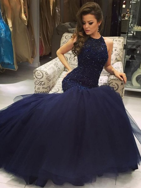 Trumpet/Mermaid Floor-Length Jewel Tulle Dress